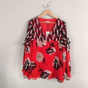 Calvin Klein NWT Blouse Plus Size Red Printed